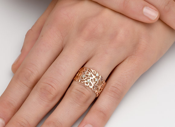 Arabesque Gold Ring w/Diamonds
