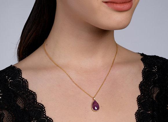Ariel Mozambique Marquise Garnet Gold Necklace