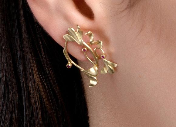 Tulip Ruby Gold Earrings