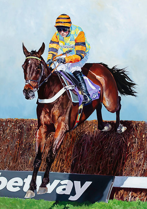 Original oil painting of King George VI and RSA Chase winner Might Bite