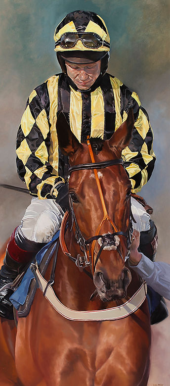 Original oil painting of champion NH jockey Richard Johnson