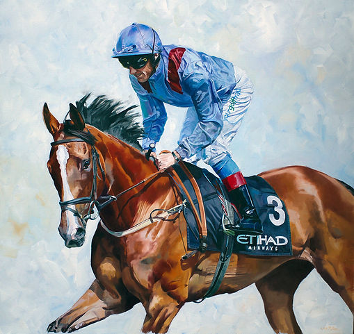 Original oil painting of Purr Along and Frankie Dettori going down to the start, Newmarket