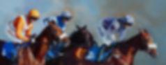 Original oil painting of horses and jockeys mid race Ffos Las. Title: Stalking Horses