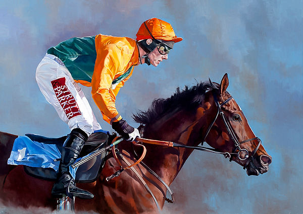 Original oil painting of a horse and jockey at Ffos Las Racecourse