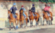 Original oil painting of racehorses and lads going out onto the gallops, Newmarket