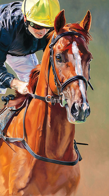 Original oil painting of champion stayer Stradivarius and jockey Andrea Atzeni, Goodwood.