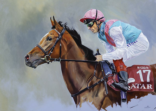 Original oil painting of champion racehorse Enable and jockey Frankie Dettori
