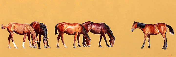 Original oil painting of yearlings at Llety Stud in the style of Stubbs.