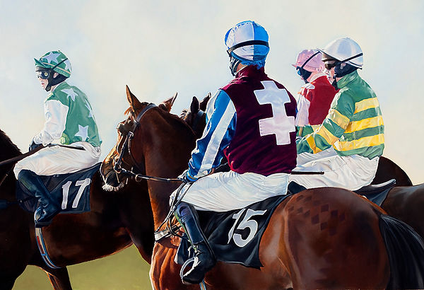 Original oil painting of jockeys at the start.