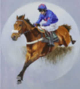 Original oil painting of multiple Grade 1 winner Cue Card and jockey Joe Tizzard