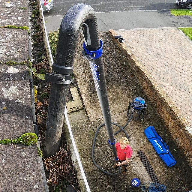 Gutter cleaning with the trusty skyvac!
