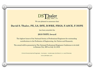 David S. Thaler Awarded 2019 NSPE Award