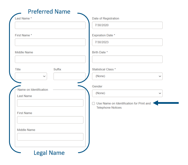 displays preferred name and legal name fields in Leap