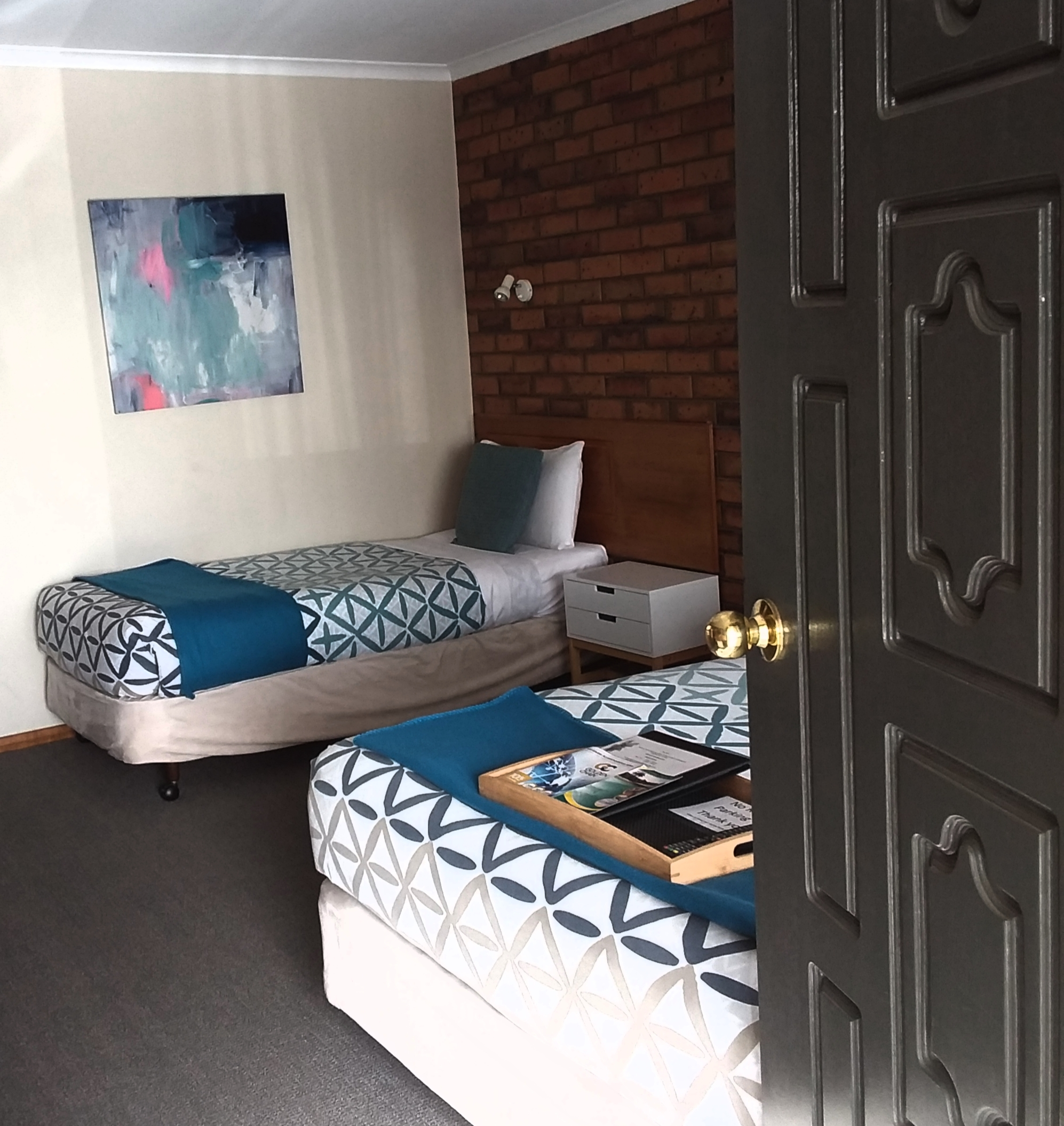close up of bed in blues