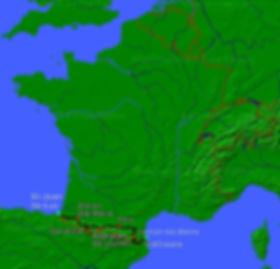 June Pyrenees Motorcycle Tour Map