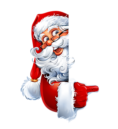 Santa Claus pointing finger_transparent.