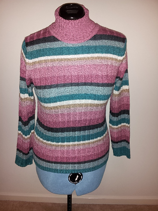 Teal and Pink Striped Turtleneck Size M