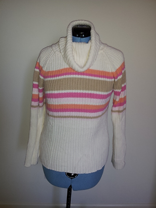 Cream/Peach/Pink Striped Sweater Size L