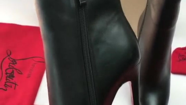 Black Patent Point Toe Ankle Boots CL Heel