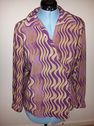 Purple and Gold Swirl Wrap Top Size XL