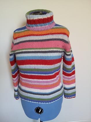 Rainbow Turtleneck Sweater Size XL