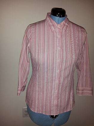 Pink and White Striped Dress Shirt Size L