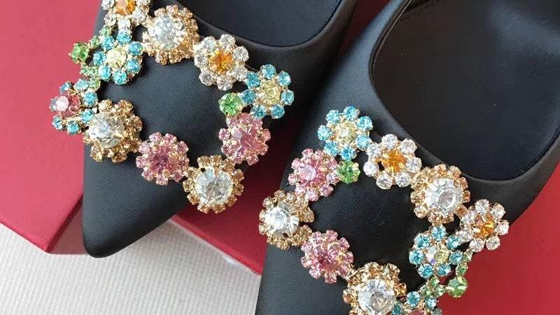 Roger Vivier - Silk Flower Bejeweled Flats
