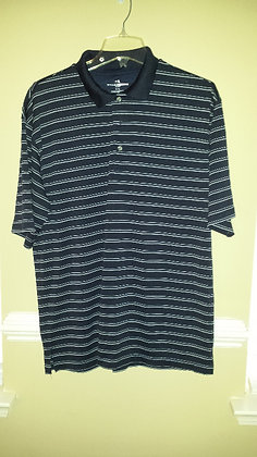 Fitted striped navy golf shirt Size XL