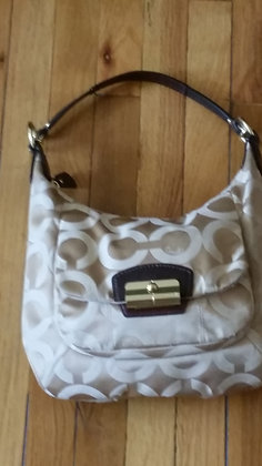 Champagne and Beige Coach Printed Signature Hobo