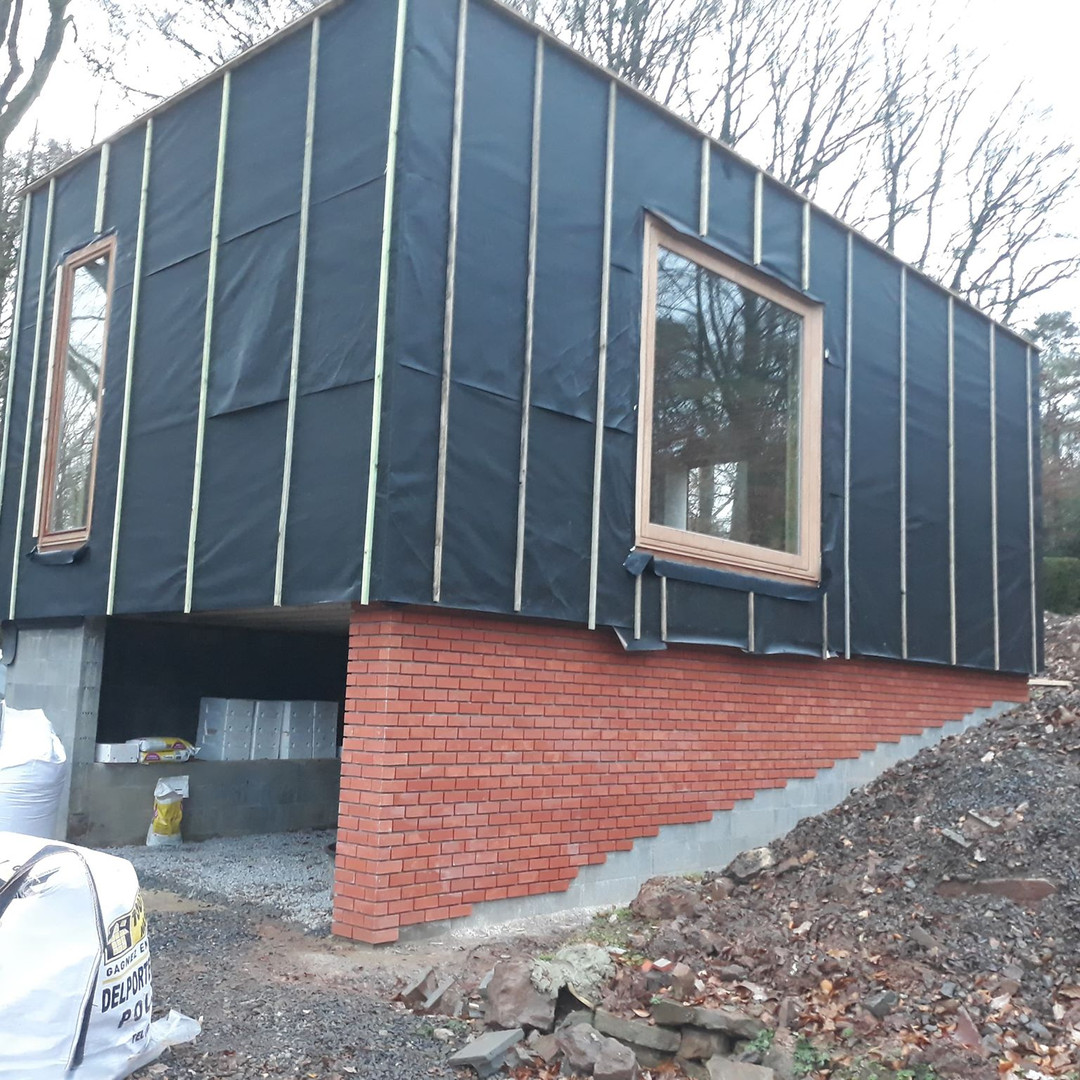Bâtiment ossature bois - Construction des nouveaux bureaux de l'Atelier d'architecture Geoffrey Noël à Beaufays