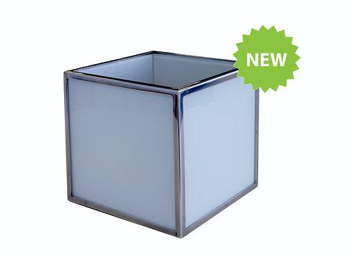 Кашпо с металлическим обрамлением 300х300х300, окрашенное стекло
