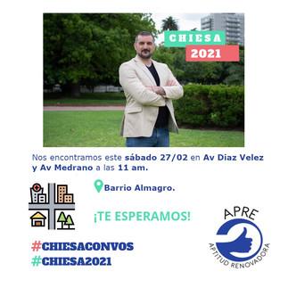 Sabado 27/02.11 hs.  podés acercarte en Almagro a Av. Díaz Vélez y Av. Medrano, para construir la #NuevaPolítica de la Ciudad.