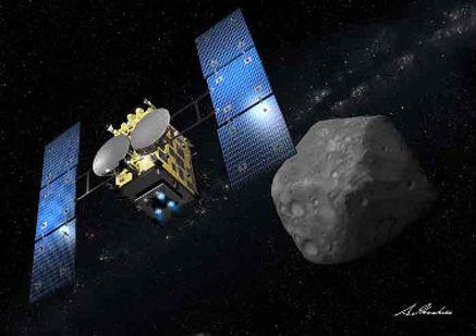 החללית היפנית היאבוסה-2 מתקרבת לאסטרואיד ריוגו. איור מתוך ויקיפדיה.