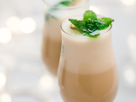 Baileys Irish Cream Liquor with frozen mint leaves