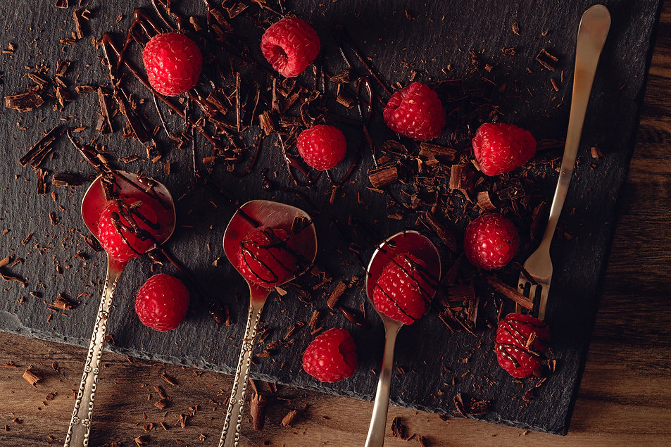 Raspberries and chocolate by Hanna Tor