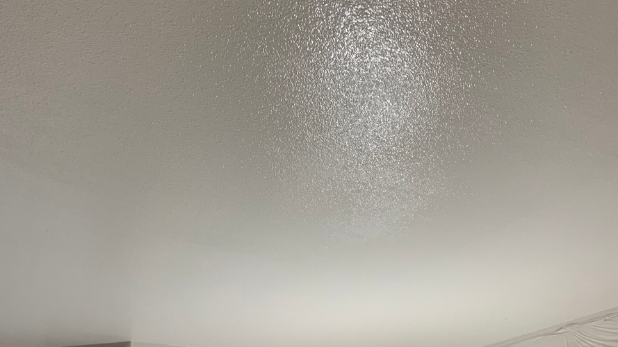 Freshly painted ceiling