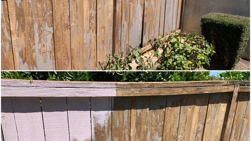 Wood fence being restored