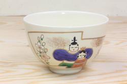 仁清冬茶碗 扇面立雛(隆山作)