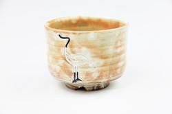 粉引立鶴茶碗(隆司作)