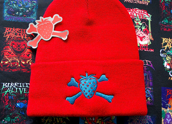 RED BEANIE W METALLIC BLUE LOGO (ONLY 50 MADE)