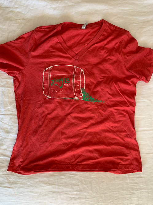 Red Womens V-Neck Barrel T