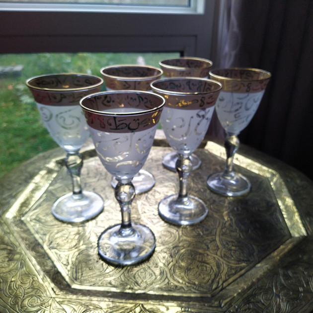 6 pcs white Arabic Calligraphy Glass Set - $65