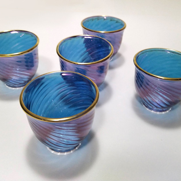 6 pcs Blue Moroccan blown glass coffee set - $18
