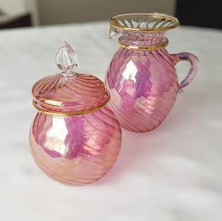 Pink Blown Glass Sugar & Creamer - $20