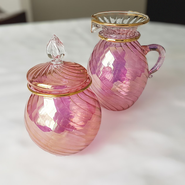 Pink Blown Glass Sugar & Creamer - $20
