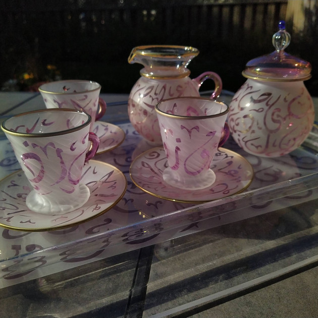 Pink Arabic calligraphy tea set