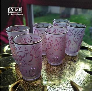 6 pcs Arabic Pink glass juice set - $55