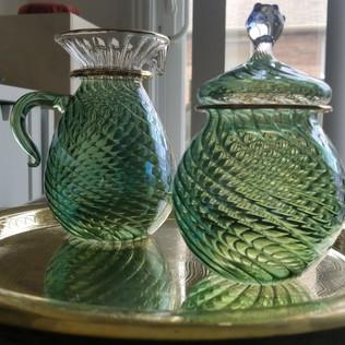 Turquoise Blown Glass Sugar & Creamer - $20