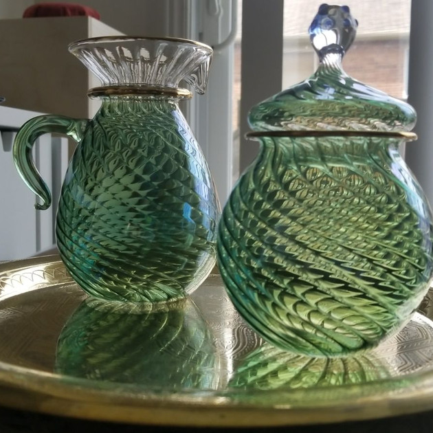 Turquoise Blown Glass Sugar & Creamer - $20