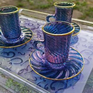 12 pcs Arabic style blue tea set - $70